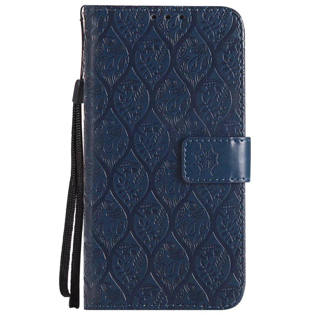 Cover Case For Sony Xperia X Performance Embossed Rattan Pattern PU Leather Wallet Case - CERULEAN