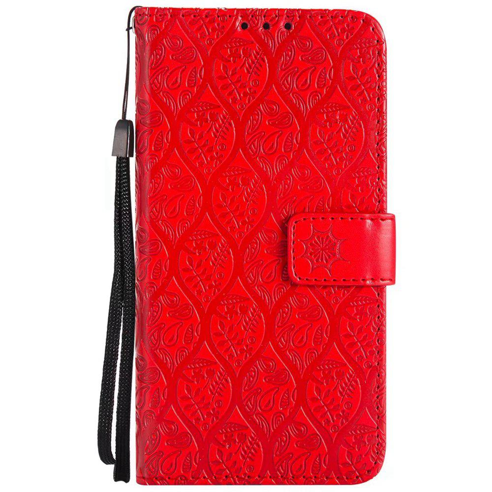 Cover Case For Sony Xperia X Performance Embossed Rattan Pattern PU Leather Wallet Case - RED