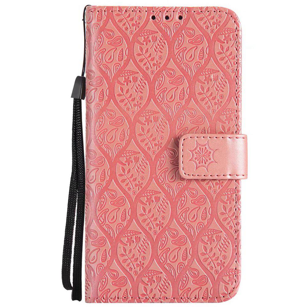 Cover Case For Sony Xperia X Performance Embossed Rattan Pattern PU Leather Wallet Case - ROSE GOLD