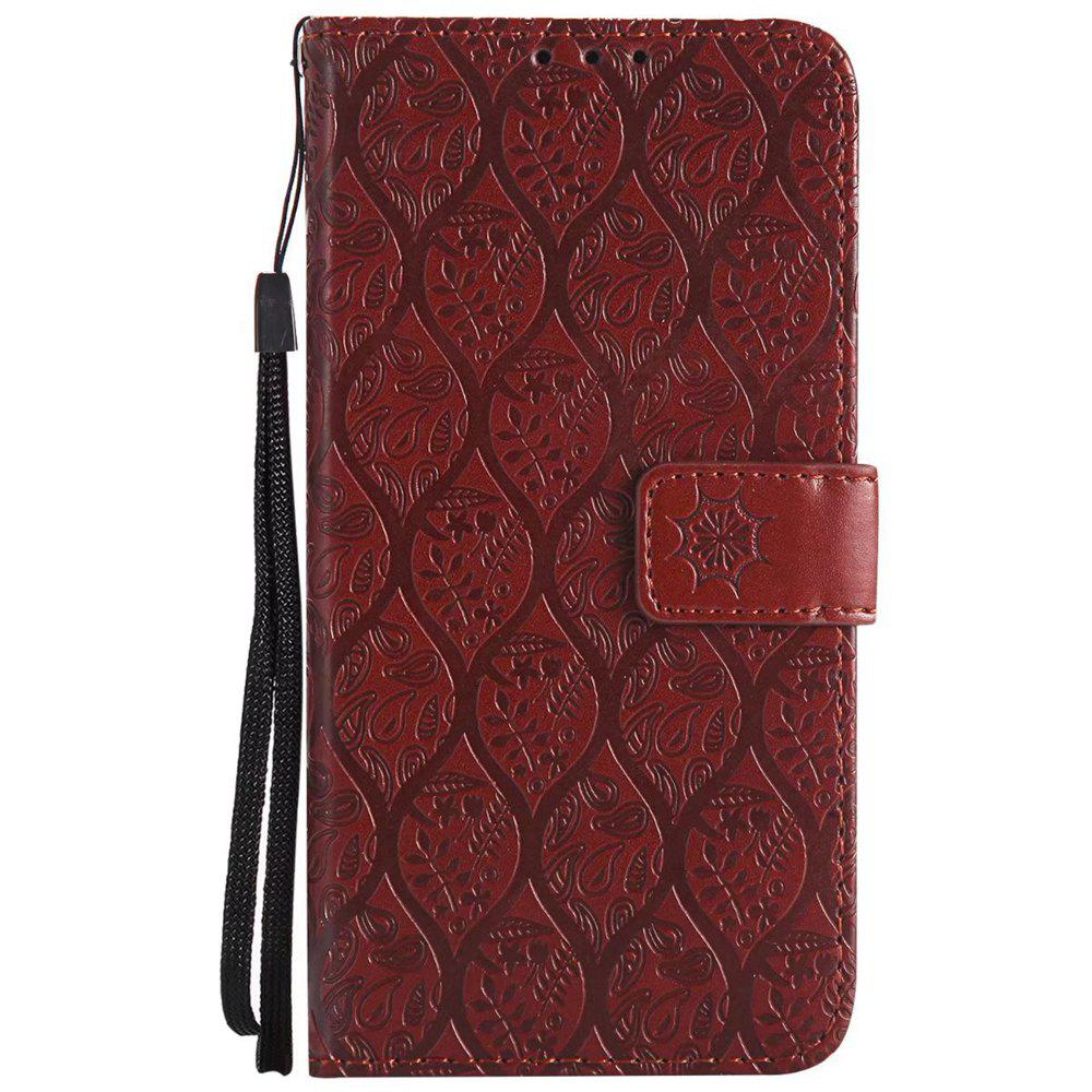 Cover Case For Sony Xperia X Performance Embossed Rattan Pattern PU Leather Wallet Case - BROWN
