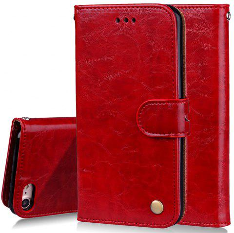 Cover Case For iPhone 7 Oil Wax Pattern PU Leather Wallet Case - RED