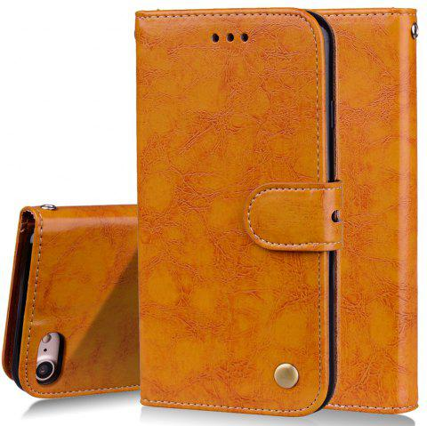 Cover Case For iPhone 7 Oil Wax Pattern PU Leather Wallet Case - YELLOW