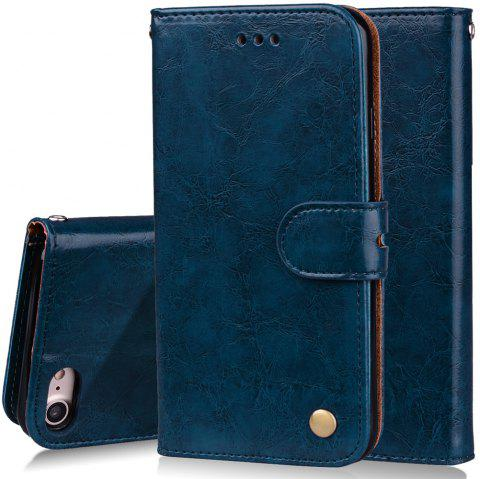 Cover Case For iPhone 8 Oil Wax Pattern PU Leather Wallet Case - BLUE