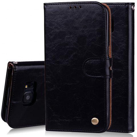 Cover Case For Samsung Galaxy S7 Edge Plus Oil Wax Pattern PU Leather Wallet - BLACK
