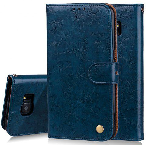 Cover Case For Samsung Galaxy S7 Edge Plus Oil Wax Pattern PU Leather Wallet - BLUE
