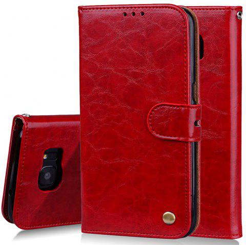 Cover Case For Samsung Galaxy S7 Edge Plus Oil Wax Pattern PU Leather Wallet - RED