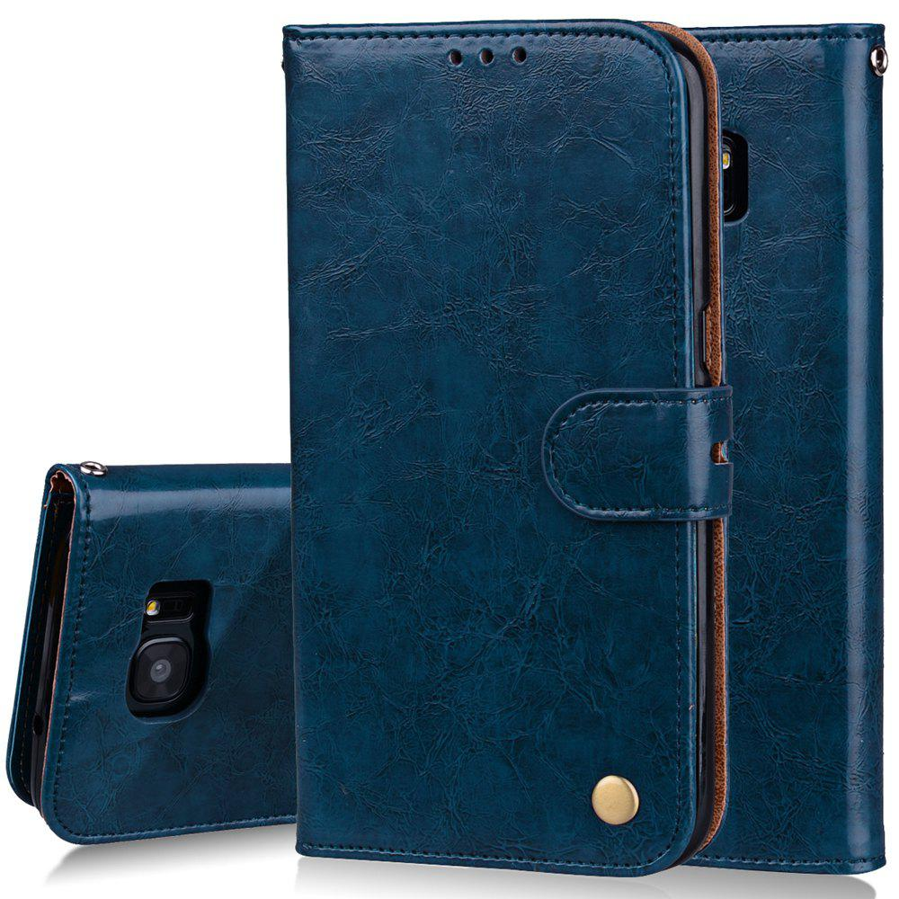 Cover Case For Samsung Galaxy S7 Edge Plus Oil Wax Pattern PU Leather Wallet Case - BLUE