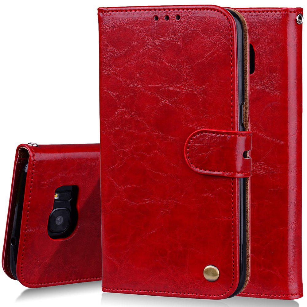 Cover Case For Samsung Galaxy S7 Edge Plus Oil Wax Pattern PU Leather Wallet Case - RED