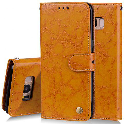 Cover Case For Samsung Galaxy S8 Oil Wax Pattern PU Leather Wallet - YELLOW