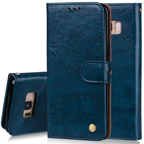 Cover Case For Samsung Galaxy S8 Oil Wax Pattern PU Leather Wallet - BLUE