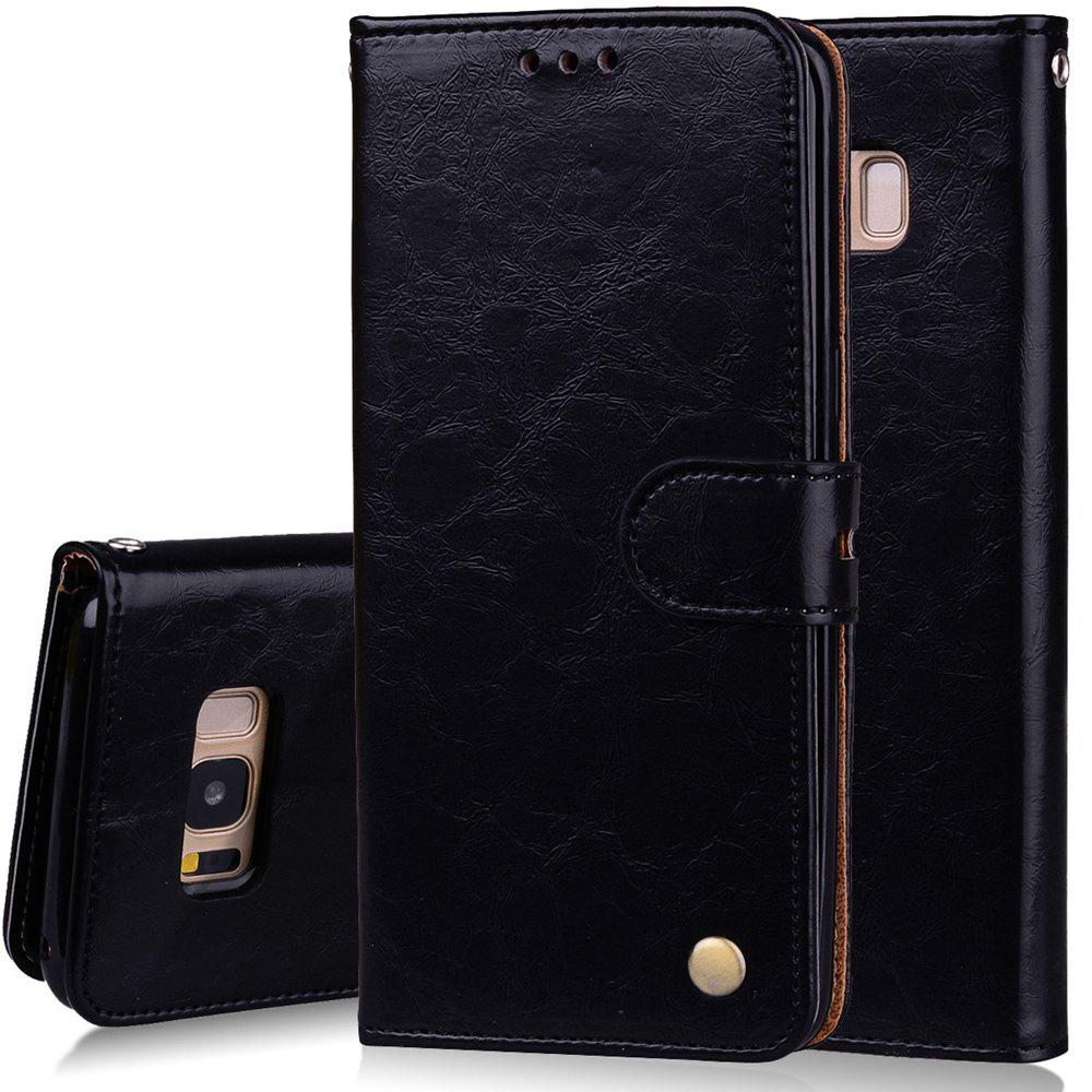 Cover Case For Samsung Galaxy S8 Oil Wax Pattern PU Leather Wallet Case - BLACK