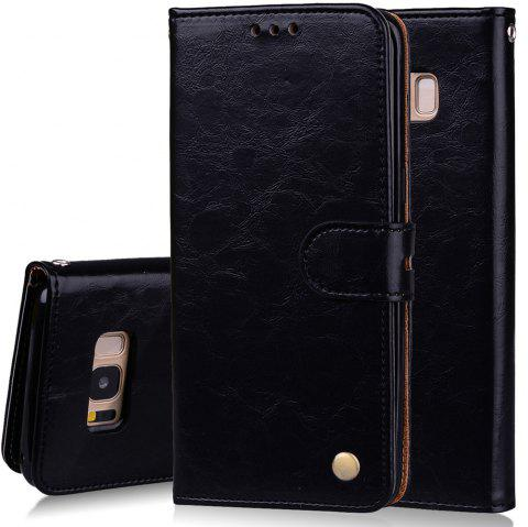 Cover Case For Samsung Galaxy S8 Plus Oil Wax Pattern PU Leather Wallet - BLACK