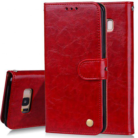 Cover Case For Samsung Galaxy S8 Plus Oil Wax Pattern PU Leather Wallet - RED