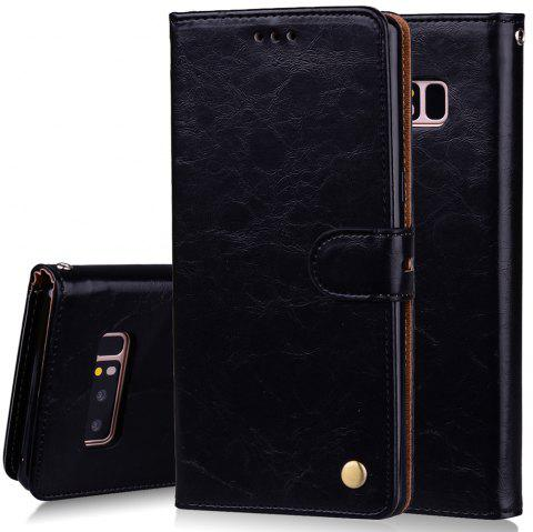 Cover Case For Samsung Galaxy Note 8 Oil Wax Pattern PU Leather - BLACK