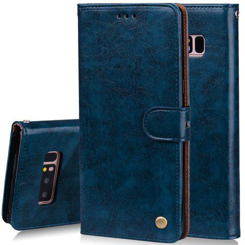 Cover Case For Samsung Galaxy Note 8 Oil Wax Pattern PU Leather - BLUE