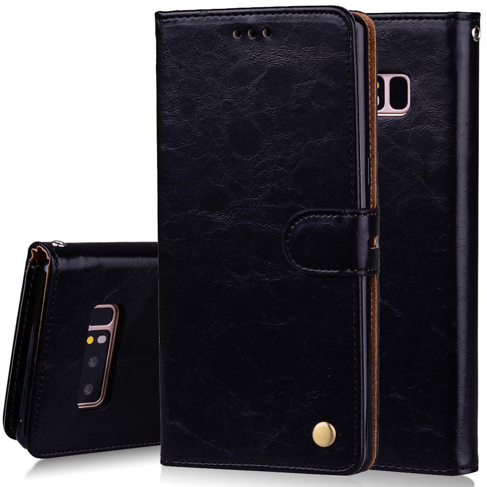 Cover Case For Samsung Galaxy Note 8 Oil Wax Pattern PU Leather Wallet Case - BLACK