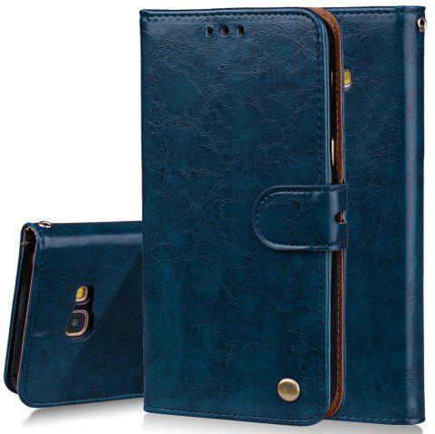 Cover Case For Samsung Galaxy A3 2017 Oil Wax Pattern PU Leather Wallet - BLUE
