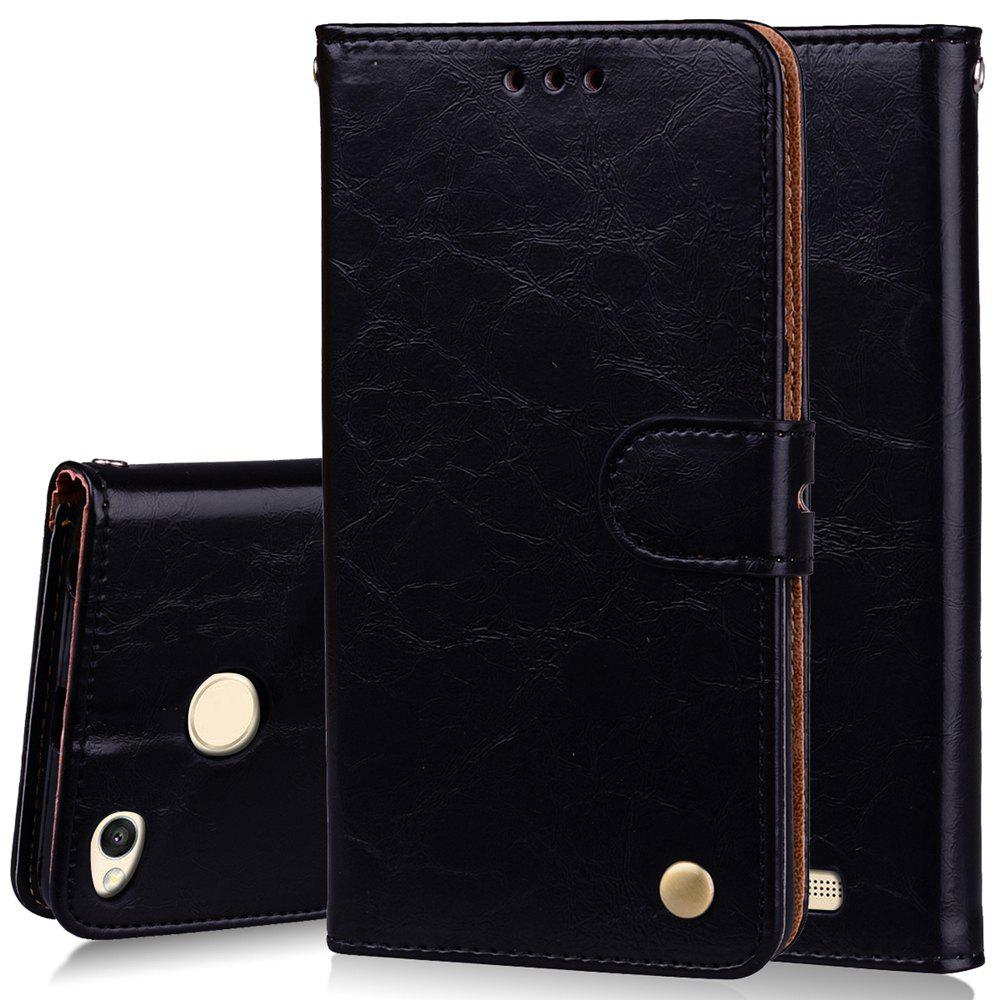 Cover Case For Xiaomi Redmi 3S Oil Wax Pattern PU Leather Wallet Case - BLACK