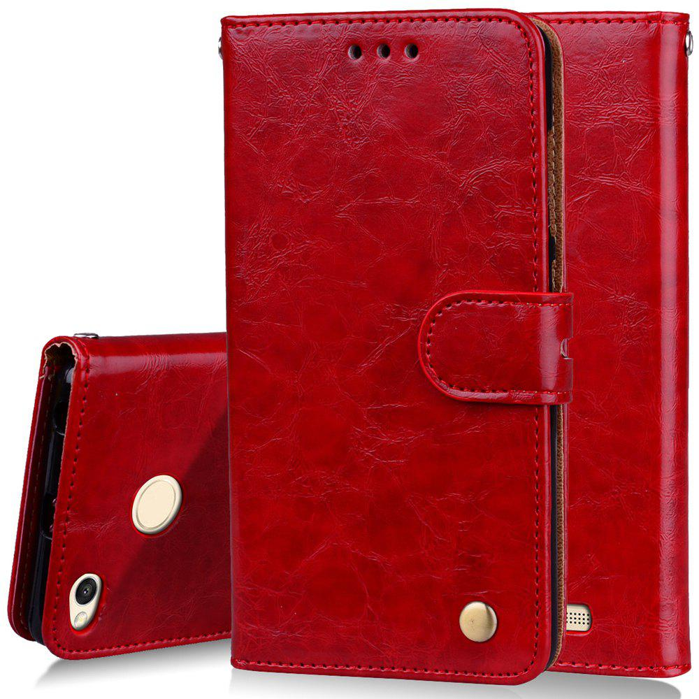 Cover Case For Xiaomi Redmi 3S Oil Wax Pattern PU Leather Wallet Case - RED