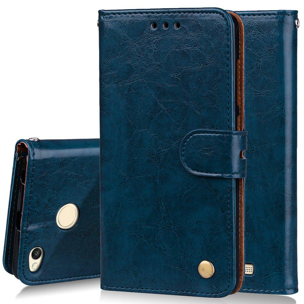 Cover Case For Xiaomi Redmi 3S Oil Wax Pattern PU Leather Wallet Case - BLUE