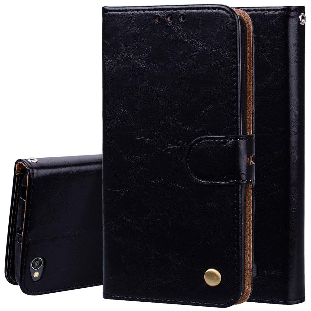 Cover Case For Xiaomi Redmi 4A Oil Wax Pattern PU Leather Wallet Case - BLACK