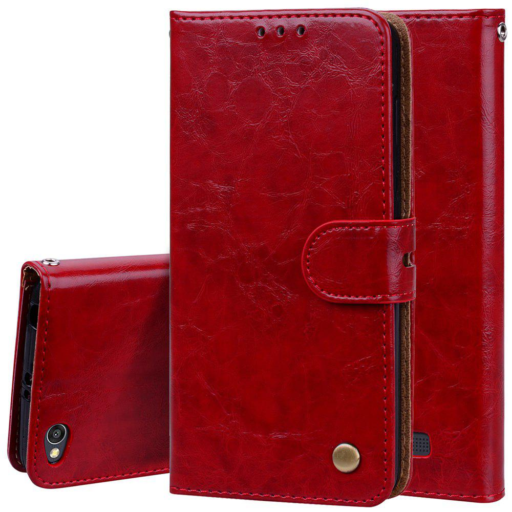 Cover Case For Xiaomi Redmi 4A Oil Wax Pattern PU Leather Wallet Case - RED