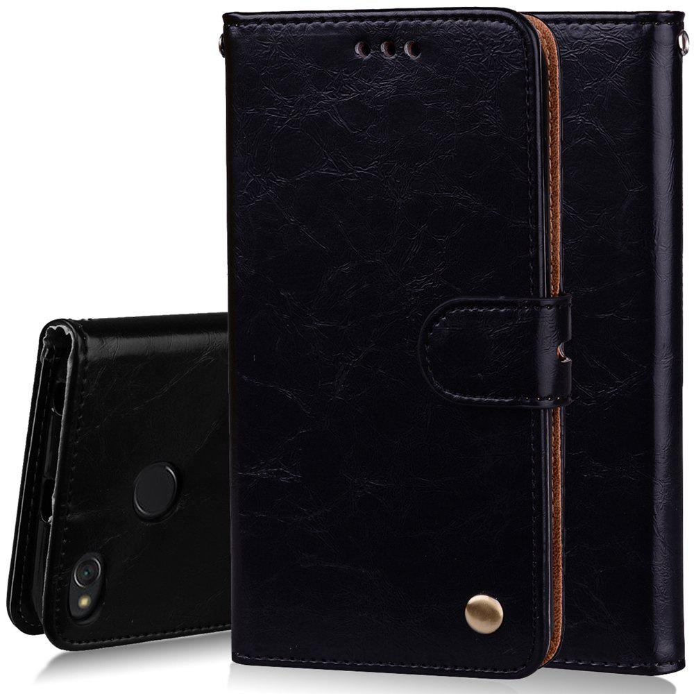Cover Case For Xiaomi Redmi 4X Oil Wax Pattern PU Leather Wallet Case - BLACK
