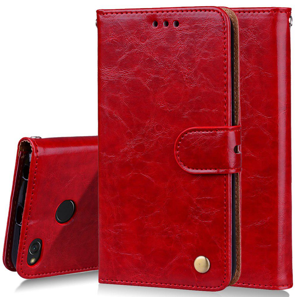 Cover Case For Xiaomi Redmi 4X Oil Wax Pattern PU Leather Wallet Case - RED