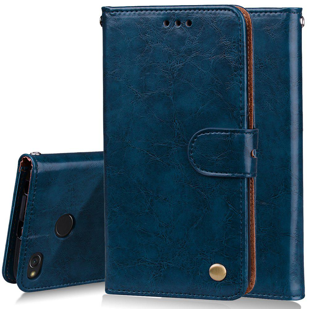 Cover Case For Xiaomi Redmi 4X Oil Wax Pattern PU Leather Wallet Case - BLUE