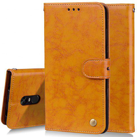 Cover Case For Xiaomi Redmi Note 4X Oil Wax Pattern PU Leather Wallet Case - YELLOW