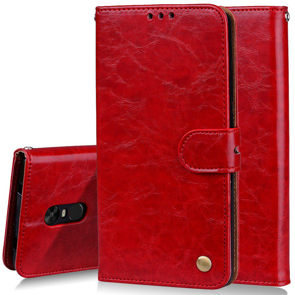 Cover Case For Xiaomi Redmi Note 4X Oil Wax Pattern PU Leather Wallet Case - RED