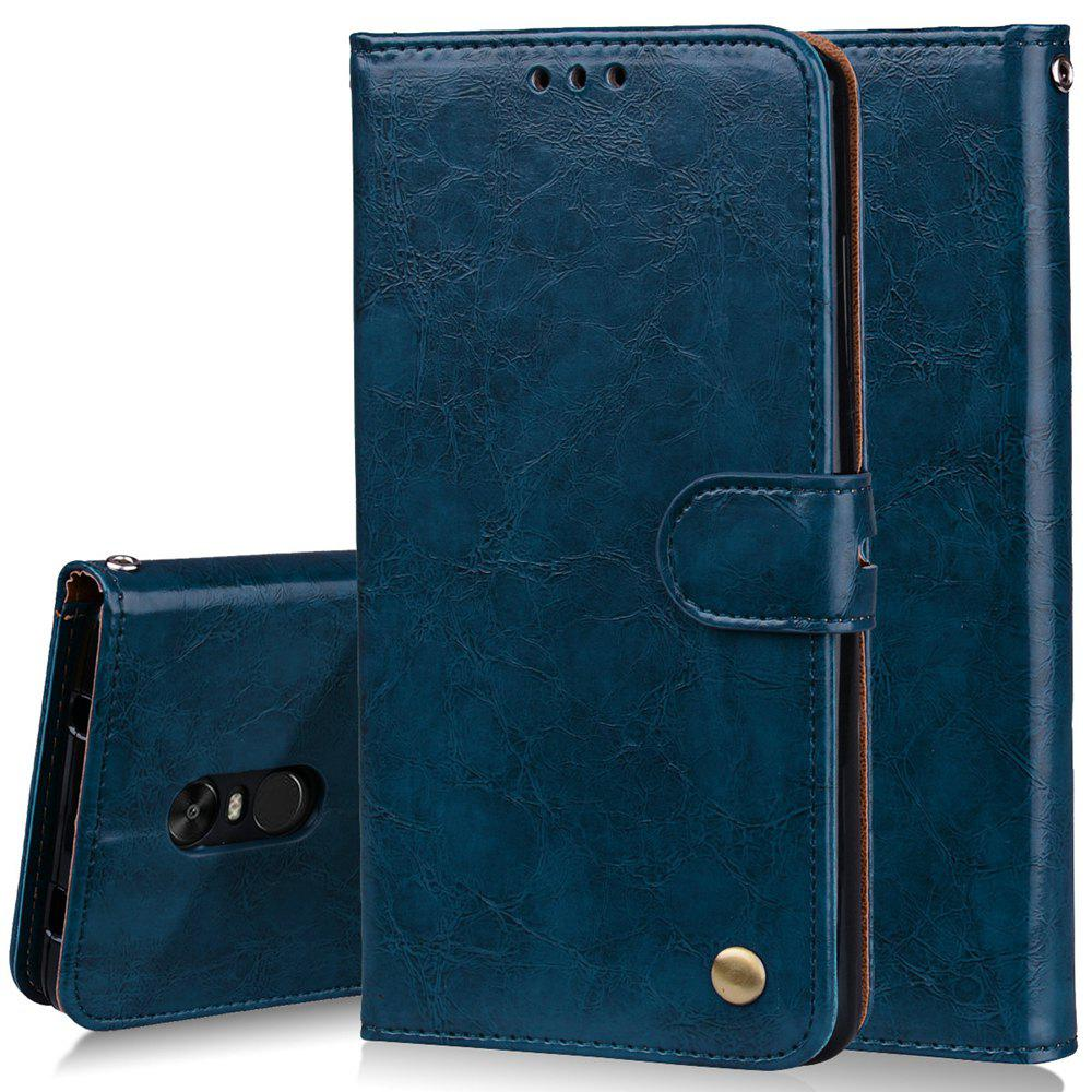 Cover Case For Xiaomi Redmi Note 4X Oil Wax Pattern PU Leather Wallet Case - BLUE