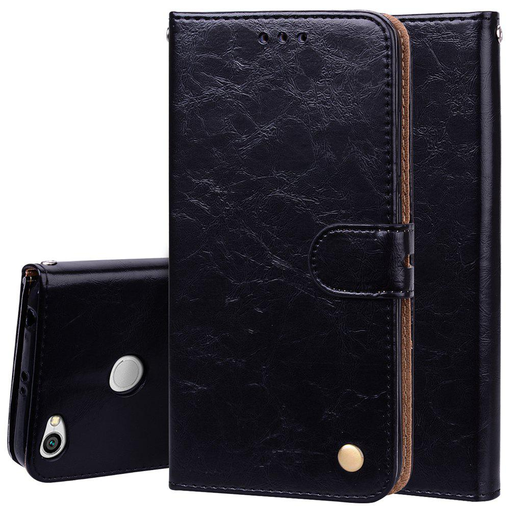 Cover Case For Xiaomi Redmi Note 5A Oil Wax Pattern PU Leather Wallet Case - BLACK
