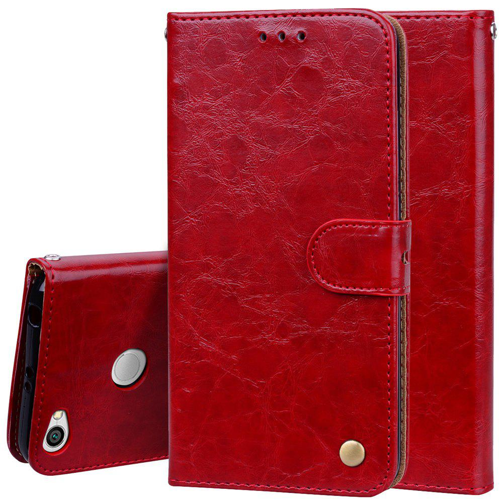 Cover Case For Xiaomi Redmi Note 5A Oil Wax Pattern PU Leather Wallet Case - RED