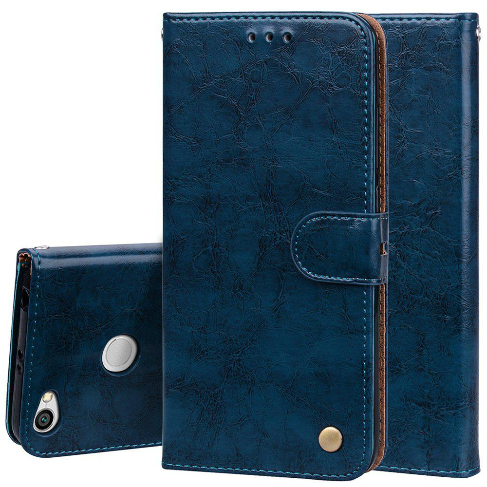 Cover Case For Xiaomi Redmi Note 5A Oil Wax Pattern PU Leather Wallet Case - BLUE