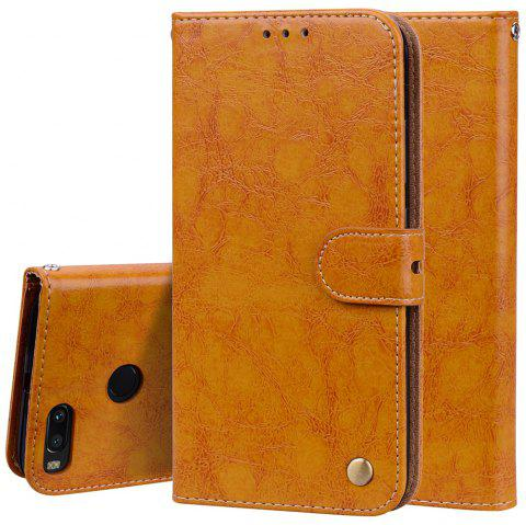Cover Case For Xiaomi Mi 5X Oil Wax Pattern PU Leather Wallet Case - YELLOW