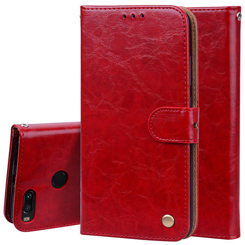 Cover Case For Xiaomi Mi 5X Oil Wax Pattern PU Leather Wallet Case - RED