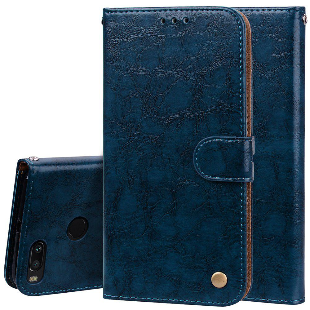 Cover Case For Xiaomi Mi 5X Oil Wax Pattern PU Leather Wallet Case - BLUE