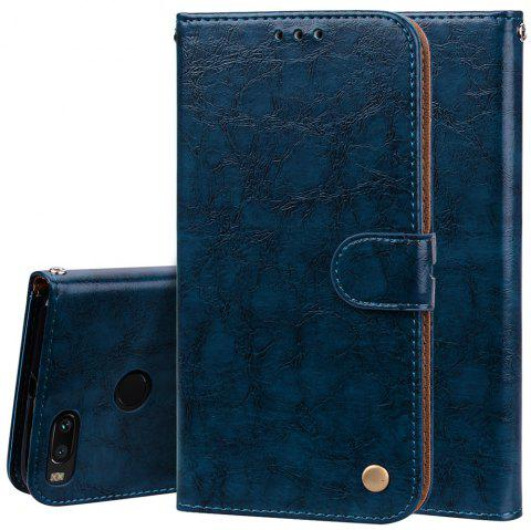 Cover Case For Xiaomi Mi A1 Oil Wax Pattern PU Leather Wallet Case - BLUE