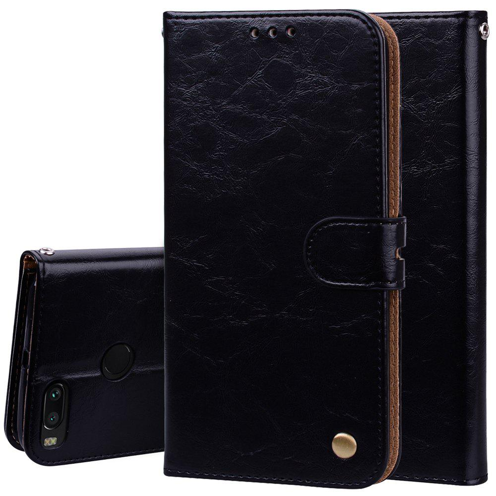 Cover Case For Xiaomi Mi A1 Oil Wax Pattern PU Leather Wallet Case - BLACK