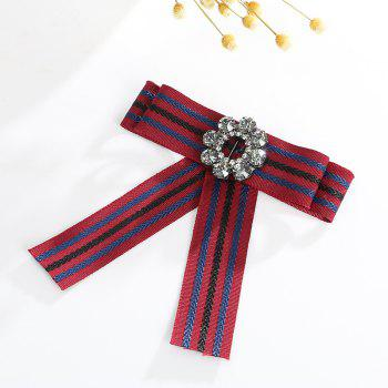 The Bow Alloy Crystal Silk Flower Brooch - RED