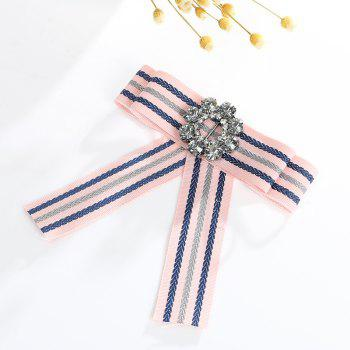 The Bow Alloy Crystal Silk Flower Brooch - PINK