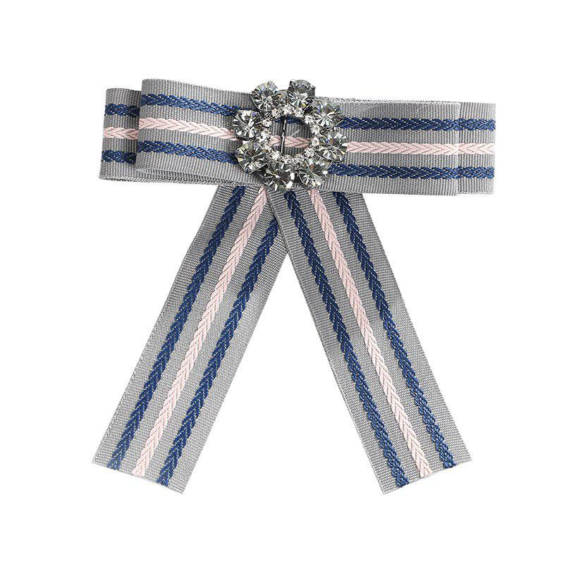 The Bow Alloy Crystal Silk Flower Brooch - GRAY