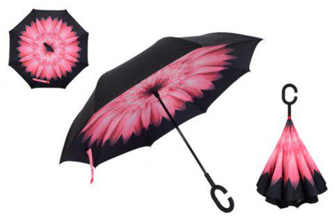Folding Reverse Umbrella Double Layer Inverted Windproof Rain Car Umbrellas for Women - PINK FLOWER