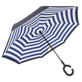 Windproof Reverse Folding Double Layer Inverted Umbrella Self Stand Umbrella Rain - BLUE STRIPE