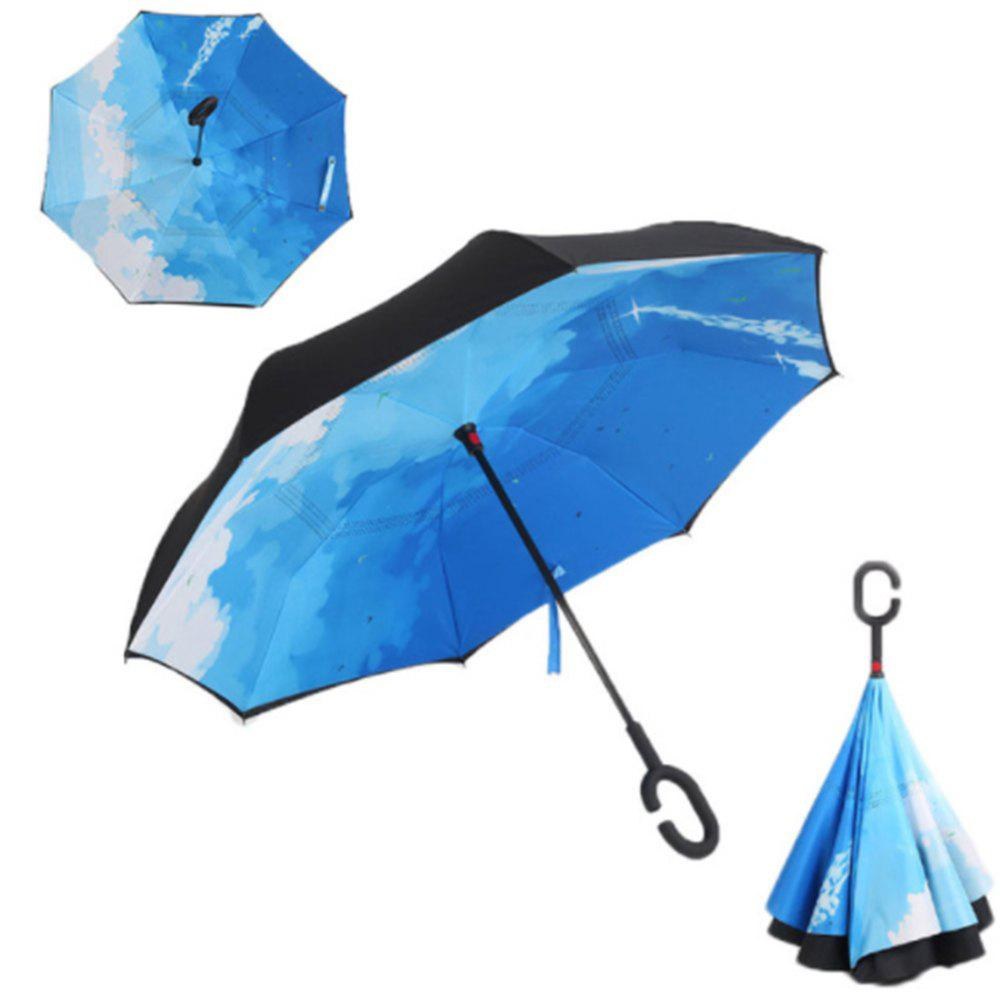 Windproof Reverse Folding Double Layer Inverted Umbrella Self Stand Umbrella Rain - BLUE SKY / CLOUD
