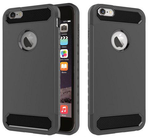 for iPhone 6/6S Shockproof  Hard PC Flexible TPU Laminated Carbon Fiber Chrome Anti-scratch Protective Case - BLACK