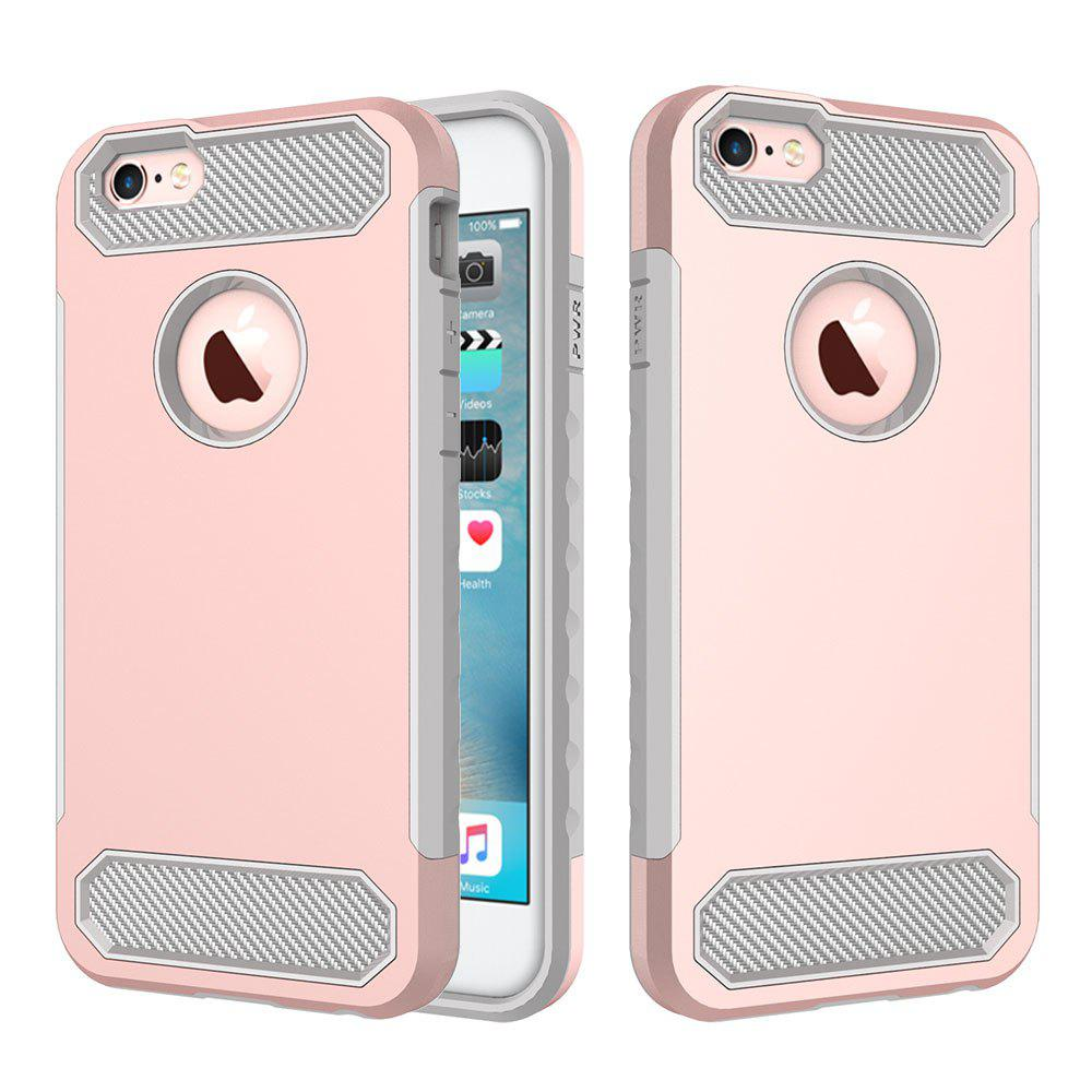 for iPhone 6/6S Shockproof  Hard PC Flexible TPU Laminated Carbon Fiber Chrome Anti-scratch Protective Case - ROSE GOLD