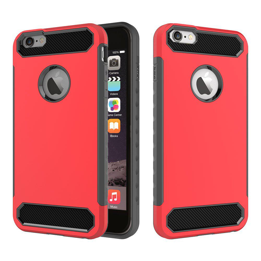 for iPhone 6/6S Shockproof  Hard PC Flexible TPU Laminated Carbon Fiber Chrome Anti-scratch Protective Case - ROSE RED