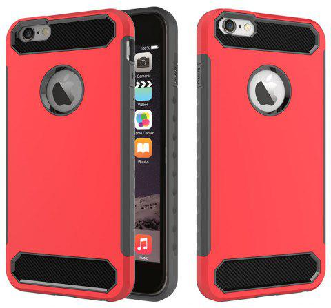 for iphone 6 Plus / 6S Plus Shockproof  Hard PC Flexible TPU Laminated Carbon Fiber Chrome Anti-scratch Protective  Case - ROSE RED